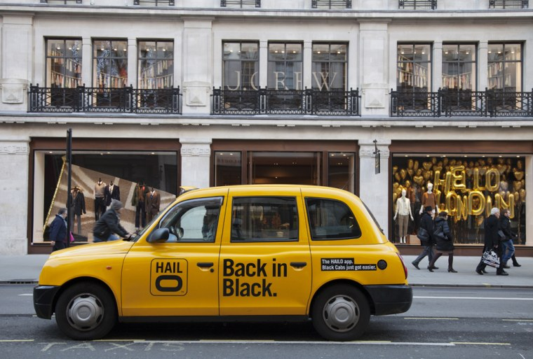 A Hailo cab awaits passengers in London in this photo from hailo.com