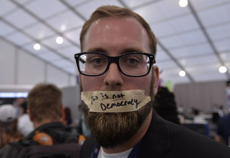 Image: A supporter of Bernie Sanders protests at the Democratic National Convention in Philadelphia, Pennsylvania