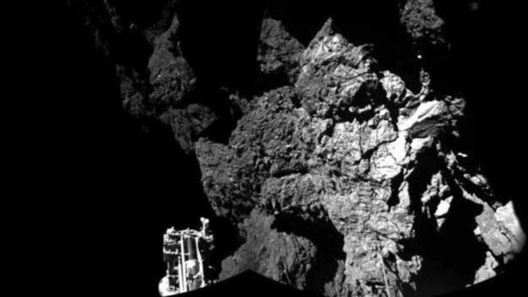 A CIVA handout image shows a probe named Philae after it landed safely on a comet, known as 67P/Churyumov-Gerasimenko