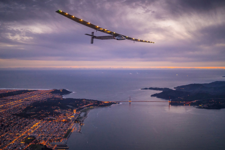 "Image: ""Solar Impulse 2"", a solar-powered plane piloted by Bertrand Piccard of Switzerland, flies over the Golden Gate bridge in San Francisco"