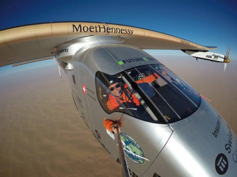 Image: Selfie picture shows Swiss pioneer Bertrand Piccard during the last leg of the round the world trip with Solar Impulse 2 over the Arab peninsula