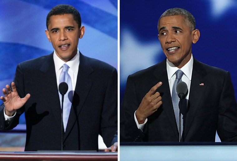 From left, Barack Obama speaks at the Democratic National Convention in 2004 and at the DNC in 2016.