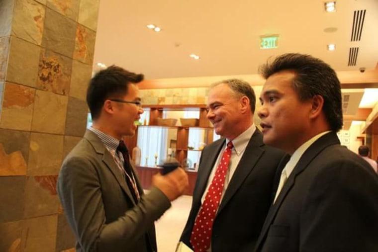 Joe Montano, Jr., with Sen. Tim Kaine