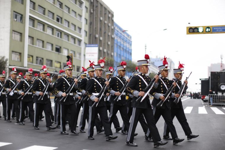 Peruvian Army inauguration ceremony for Pedro Pablo Kuczynski in Lima on July 28, 2016