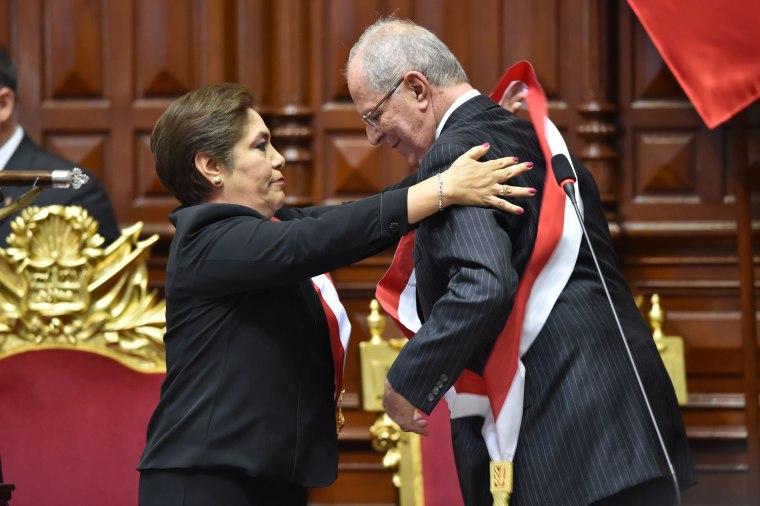 Newly sworn-in Peruvian president Pedro Pablo Kuczynski