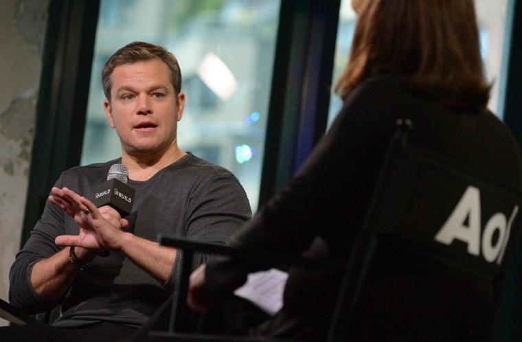 "Actor Matt Damon participates in AOL's BUILD Speaker Series to discuss the film, ""Jason Bourne"", at AOL Studios."