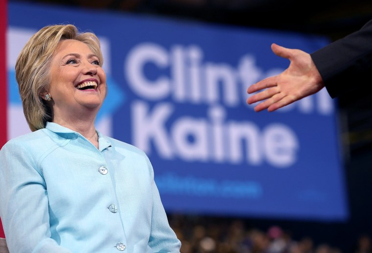 Image: Democratic Presidential Candidate Hillary Clinton Appears With Vice Presidential Pick Sen. Tim Kaine