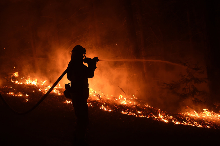 Image: A firefighter from Cal Fire's Fresno-Kings unit sprays water on a backfire while fighting the Soberanes Fire on Palo Colorado Road near Big Sur