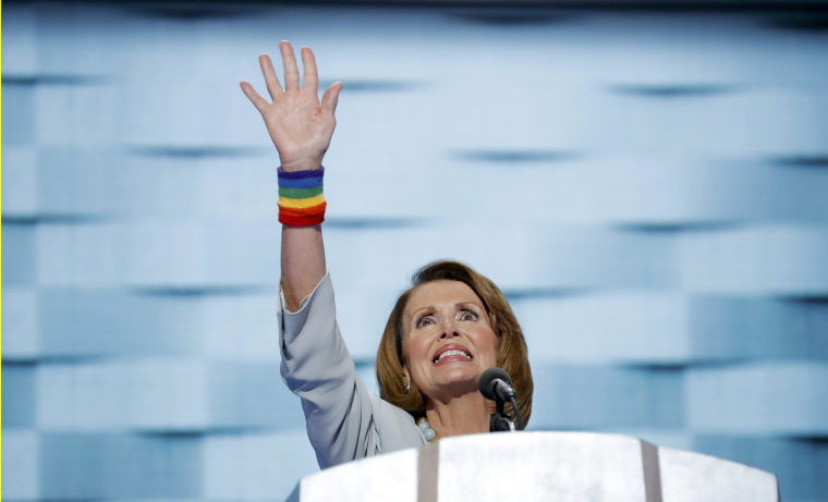 Image: House Minority Leader Pelosi waves as she speaks on the fourth and final night at the Democratic National Convention in Philadelphia