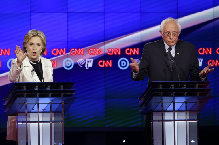 Image: Hillary Clinton and Bernie Sanders debate in Brooklyn