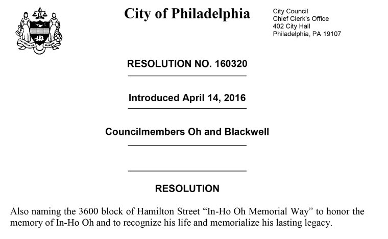 An excerpt of a City of Philadelphia resolution honoring In-Ho Oh