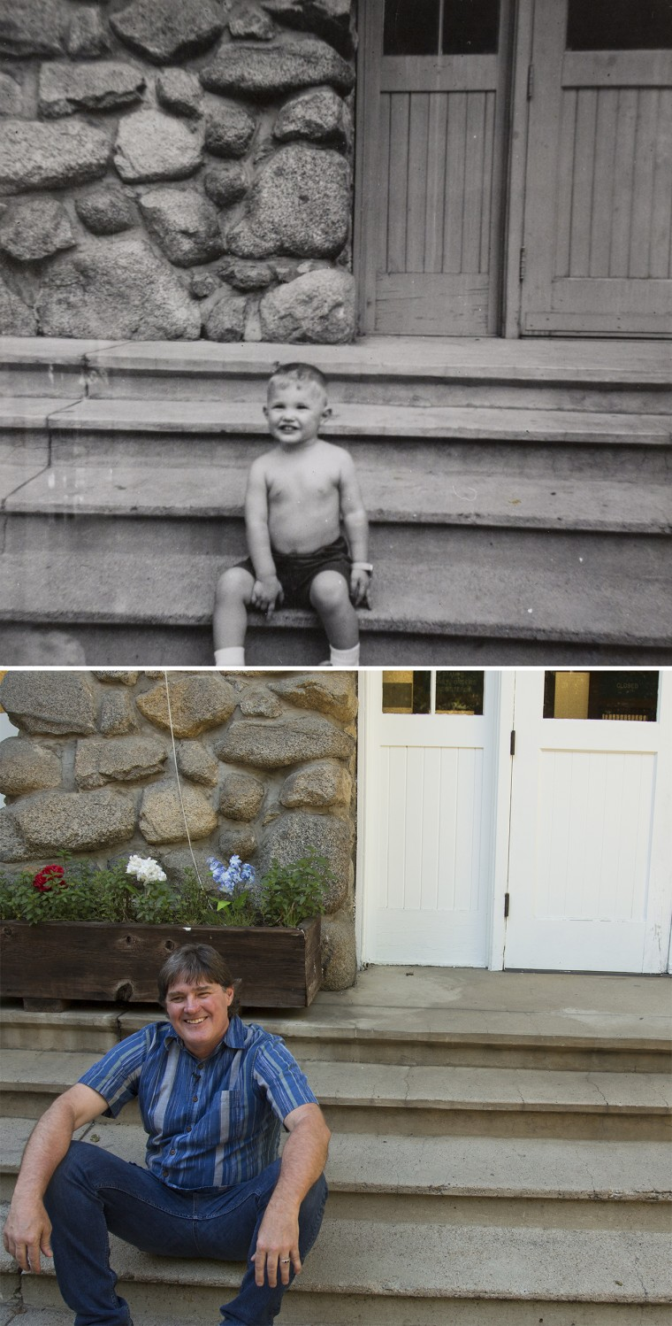 Image: Postmaster John Reynolds sits on the same steps of the Yosemite Valley Post Office at age 2 and today
