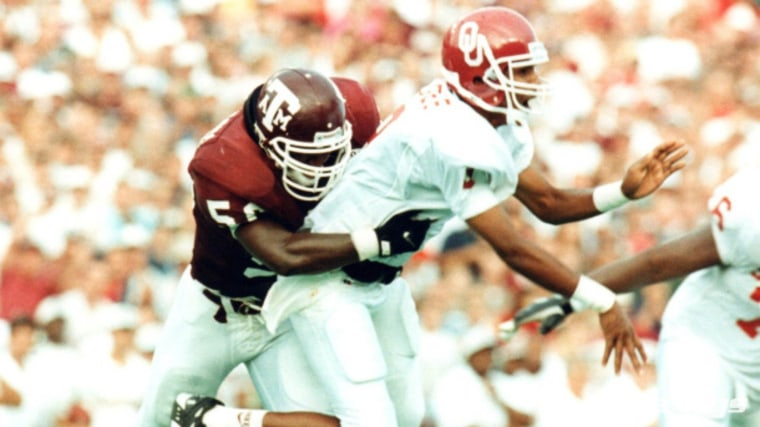 Antonio Armstrong playing for Texas A&M University.
