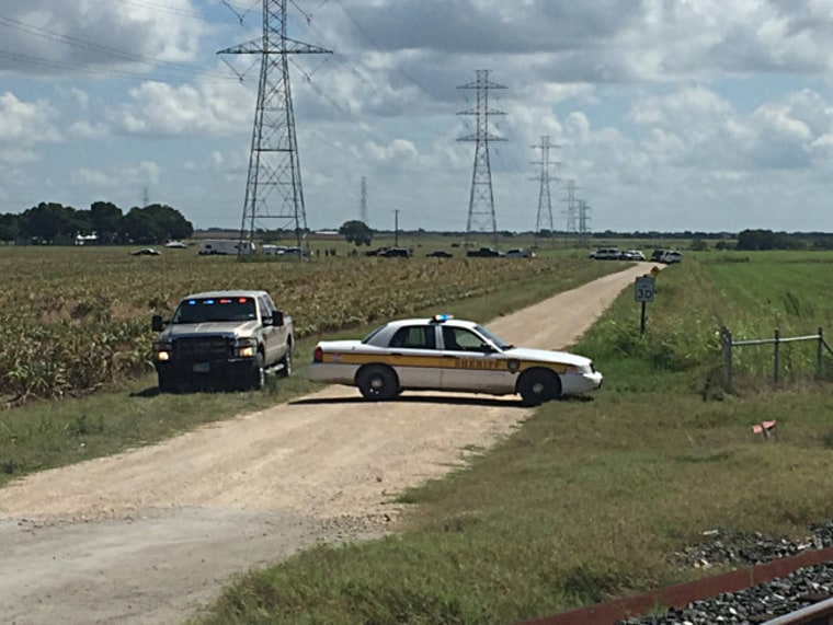 Police respond at the scene of a balloon crash in Lockhart, Texas.