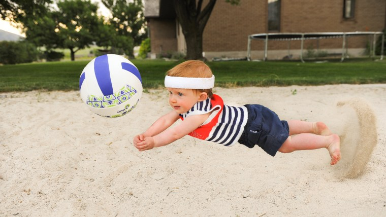 Rockwell plays volleyball