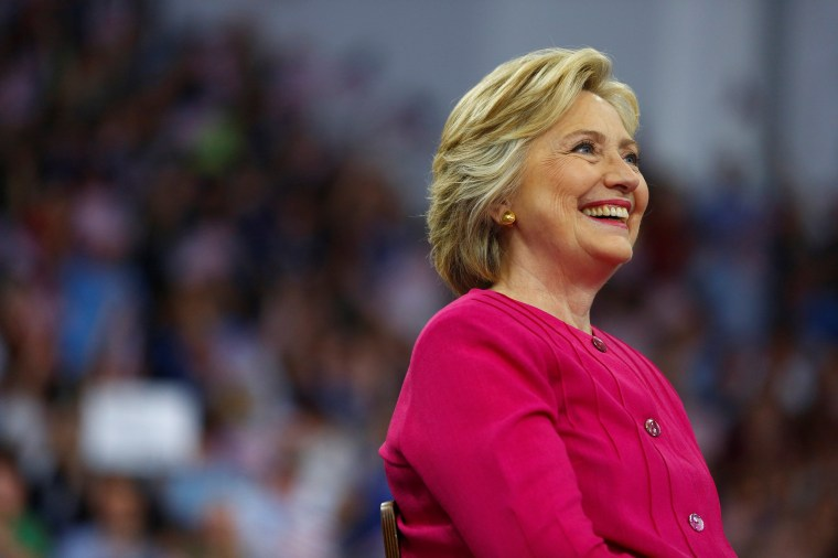 Image: Democratic presidential candidate Hillary Clinton campaigns on the campus of Temple University in Philadelphia, Pennsylvania