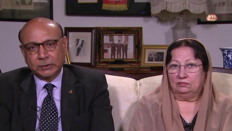 """Khizr and Ghazala Khan appear via satellite on """"The Last Word with Lawrence O'Donnell."""""""