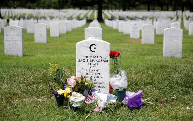 Image: The grave of Army Captain Humayun Khan lies at Arlington National Cemetery in Arlington