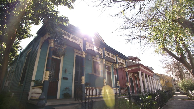 Colorful 'shotgun' homes line of the streets of the Marigny, one of New Orleans' oldest neighborhoods. Here, NBC News found lead levels as high as 121 parts per billion in one homeowner's kitchen tap.