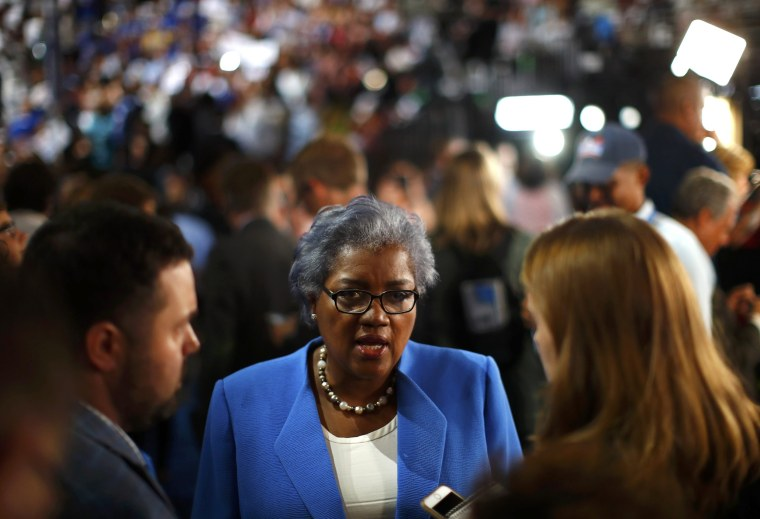 Image: Donna Brazile, the acting Chair of the Democratic National Committee, talks to the media on the floor at the Republican National Convention in Cleveland