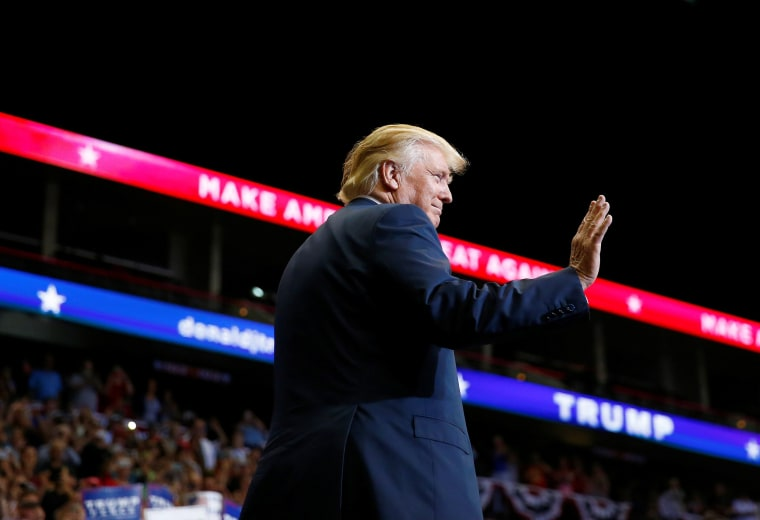 Image: Republican presidential nominee Donald Trump attends a campaign event at the Jacksonville Veterans Memorial Arena in Jacksonville
