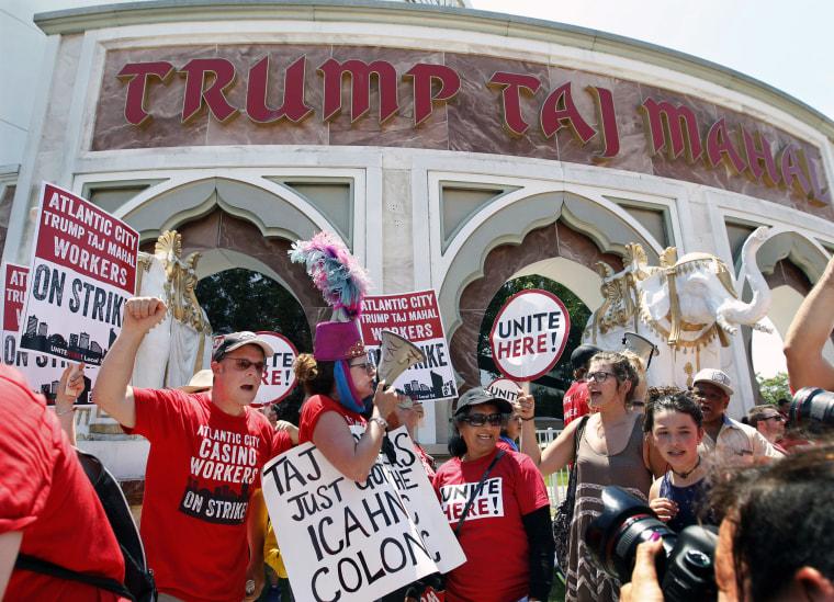 IMAGE: Protesters outside Trump Taj Mahal Casino