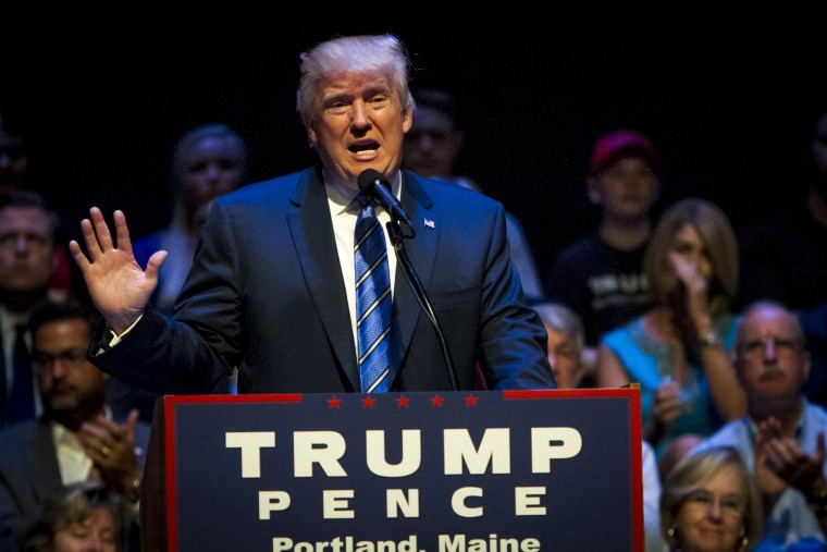Image: Republican Presidential Candidate Donald Trump Campaigns In Portland, Maine