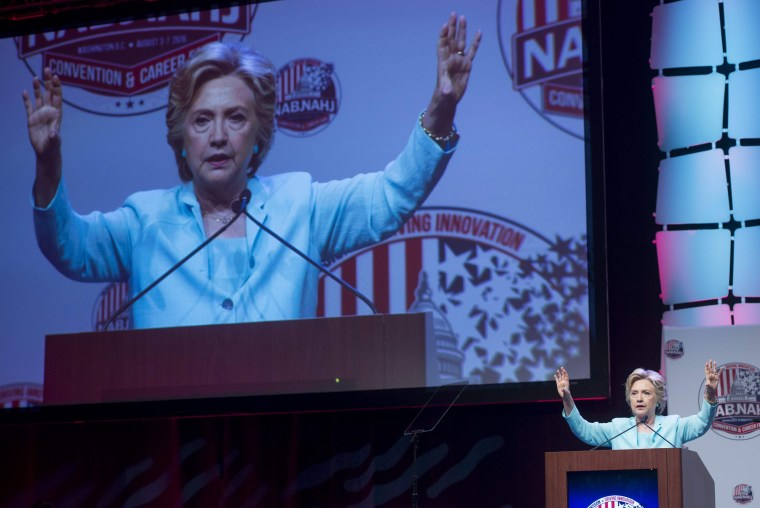 Democratic presidential nominee Hillary Clinton speaks to NABJ, NAHJ Journalists