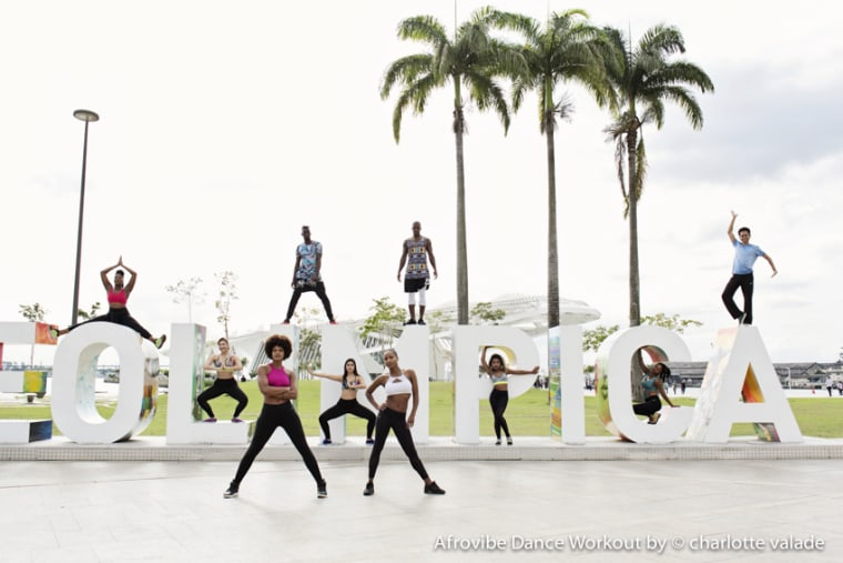The founders of Afrovibe and other dancers at the Olympic Park in Rio.