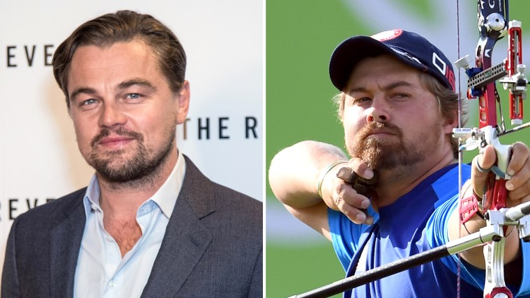 Leonardo DiCaprio and his look-alike, American archer Brady Ellison