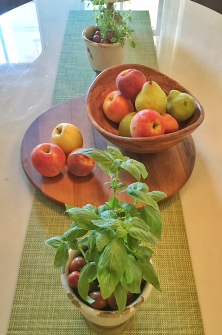 Create a tablescape with items from the produce department.