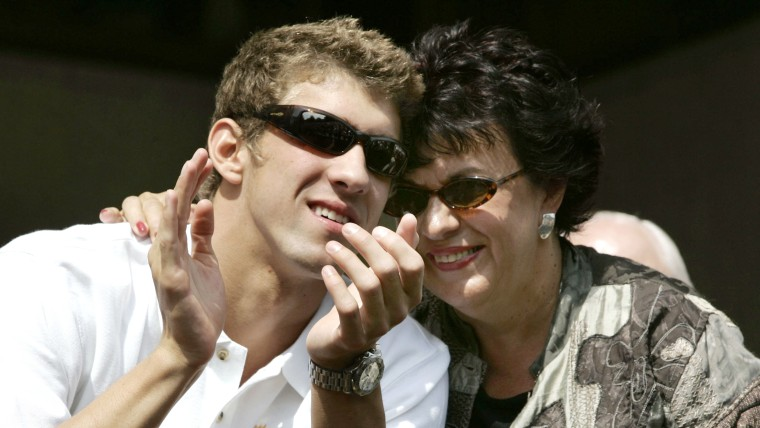 Michael Phelps with his mother
