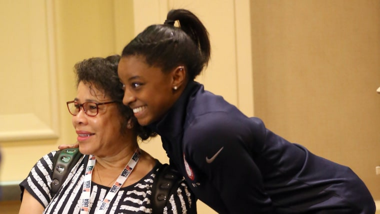 Simone Biles with her mother Nellie