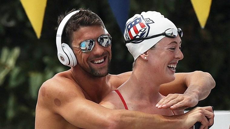 Michael Phelps hugs Allison Schmitt