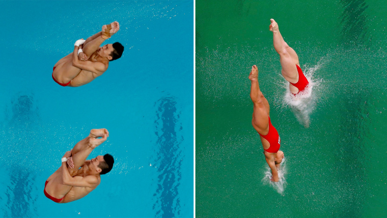A split comparison of the diving pool as it appeared Monday, and then a day later.