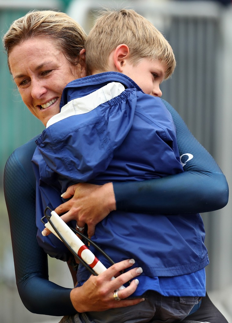 Kristin Armstrong with her son
