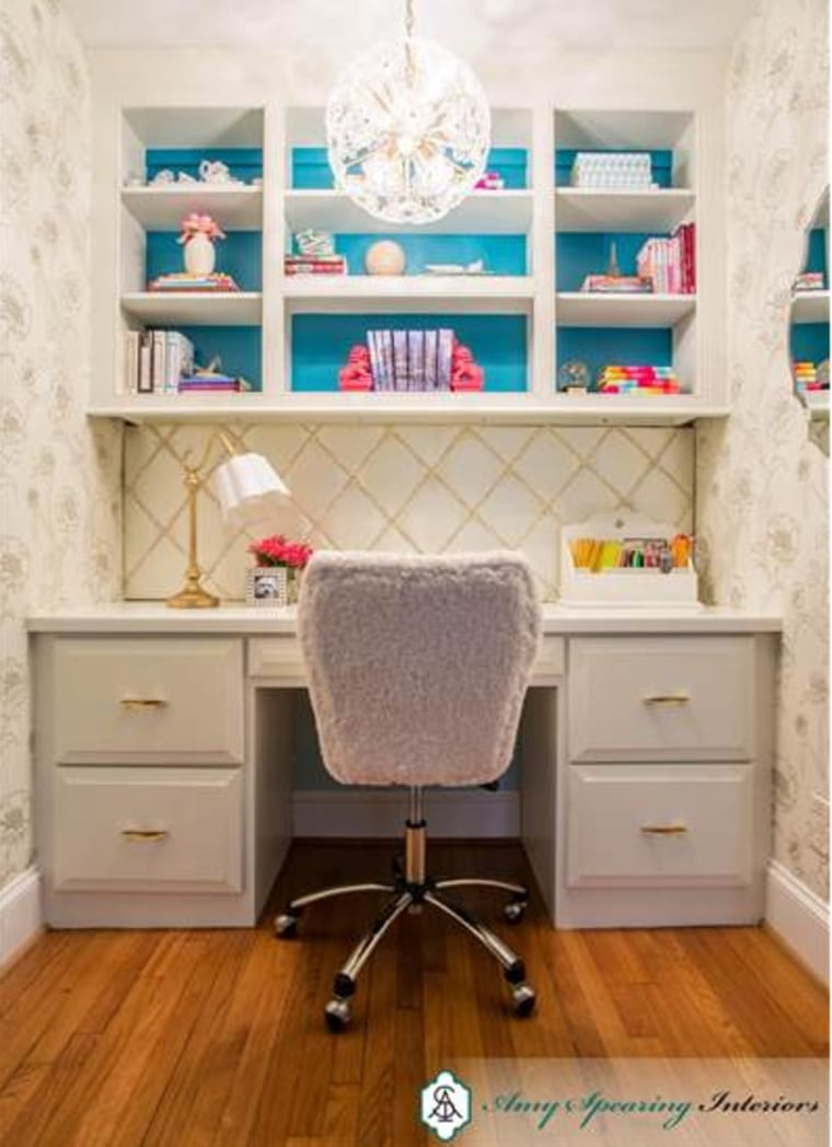 The walls surrounding this desk nook were covered with Peonies from tempaperdesigns.com