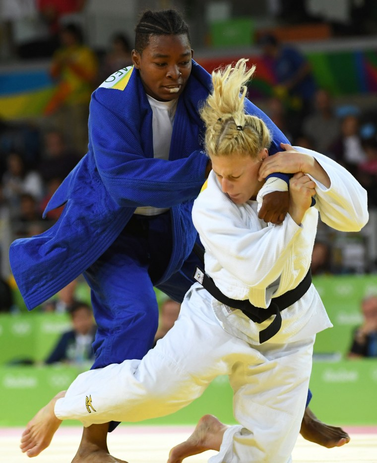 Kayla Harrison in her match Thursday against France's Audrey Tcheumeo.