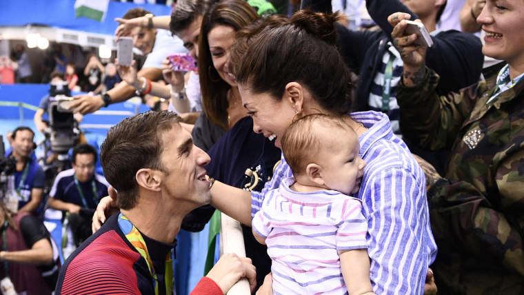 Michael Phelps with fiance Nicole Johnson and son Boomer