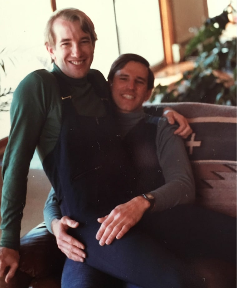 Eric Sawyer and his boyfriend, Scott Bernard, who is sitting on Sawyer's lap. Bernard later died of AIDS.
