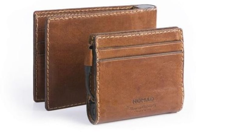 Nomad's Leather Charging Wallet has a hidden integrated lightning cable and battery so you always have a complete charging system for your iPhone.