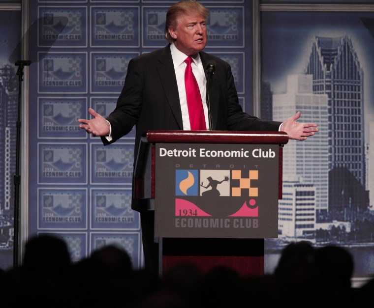 Image: GOP Presidential Candidate Donald Trump Gives Economic Policy Address In Detroit