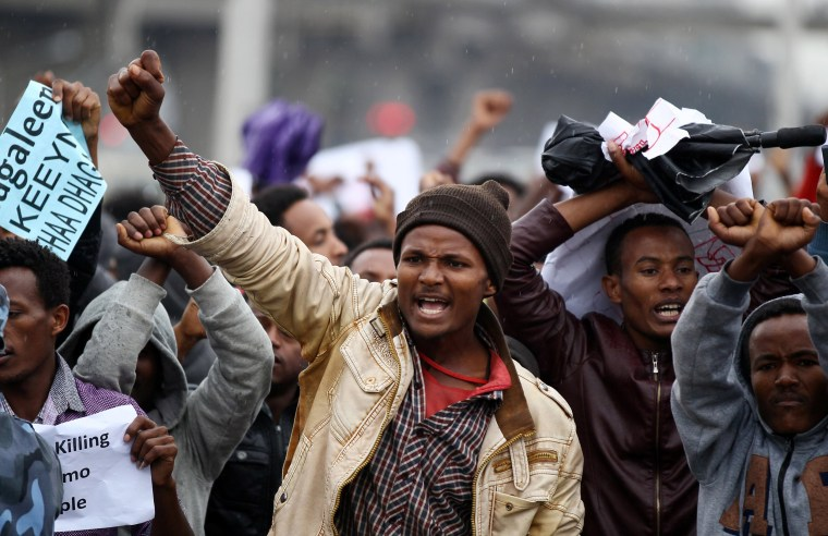 Image: Protesters chant slogans during a demonstration over what they say is unfair distribution of wealth in the country at Meskel Square in Ethiopia's capital Addis Ababa