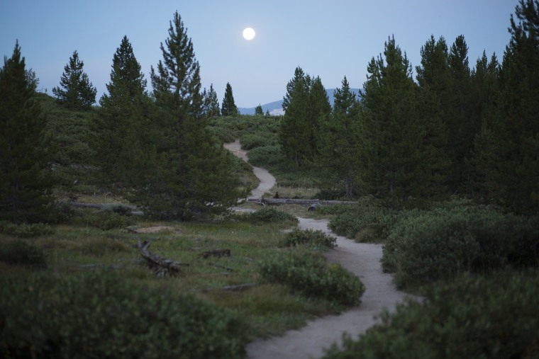 Image: A full moon rises over the Taggart Lake trail in Grand Teton National Park