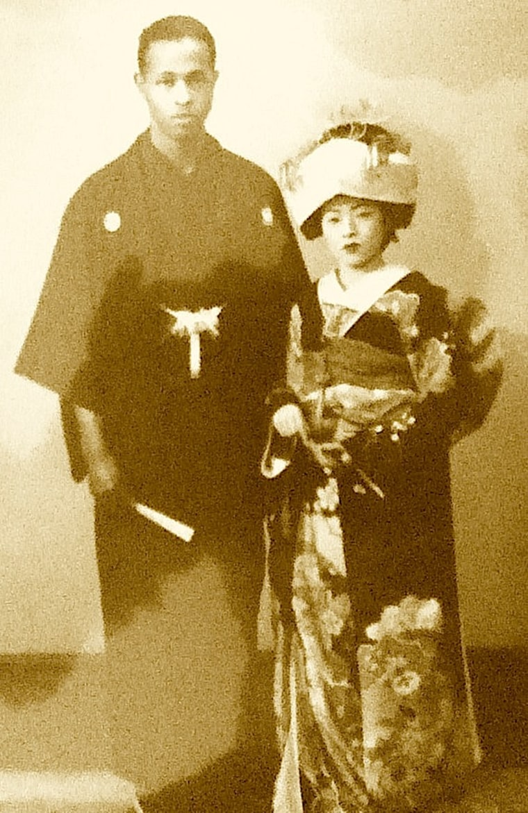"Teruko Nishina from Fukuoka and Roland Franklin Stead, Jr., from Boston, in filmmaker Yayoi Lena Winfrey's documentary film, ""War Brides of Japan."""
