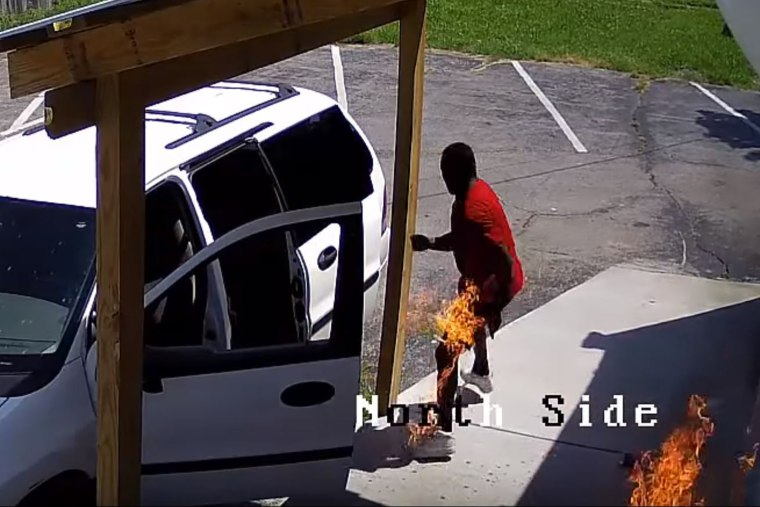 Police in Madisonville, Kentucky, released surveillance footage of a man attempting to burn down a new business.