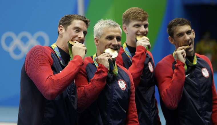 IMAGE: Conor Dwyer, Ryan Lochte, Townley Haas and Michael Phelps