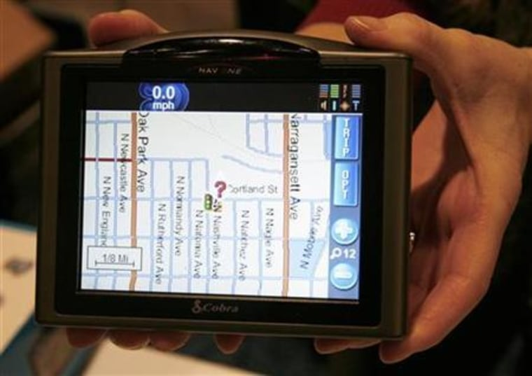 The Cobra Nav One 5000 portable mobile navigation system is displayed at the Consumer Electronics Show Unveiled event in Las Vegas