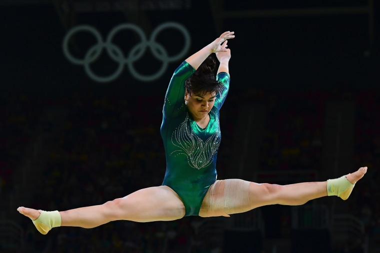 Mexico's Alexa Moreno competes in the qualifying for the women's Beam event