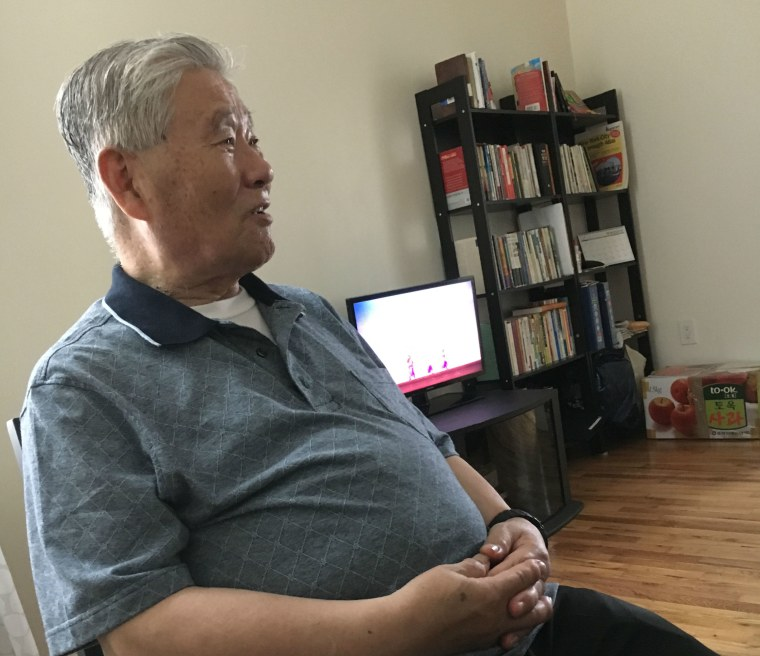 Han Tak Lee during a recent visit by NBC News to his apartment.